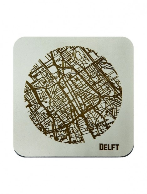WoodyMaps ♥ Delft • Coaster